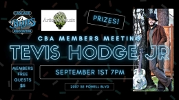 Cascade Blues Association Monthly Meeting - LIVE with Tevis Hodge Jr Wednesday September 1st at 7pm